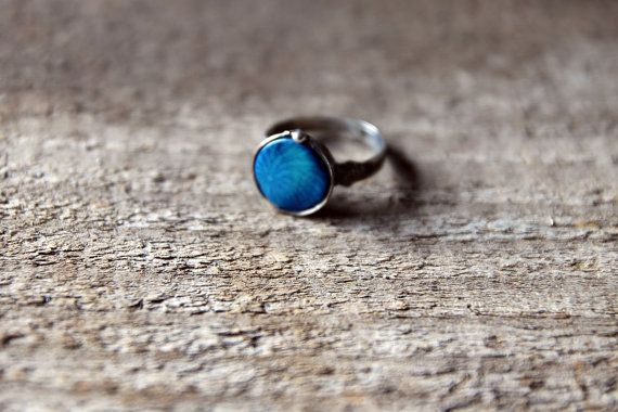 small round blue organic slice coral stone ring, statement ring, Engagement ring, coctail ring, adjustable ring, something blue on Etsy, £17.78