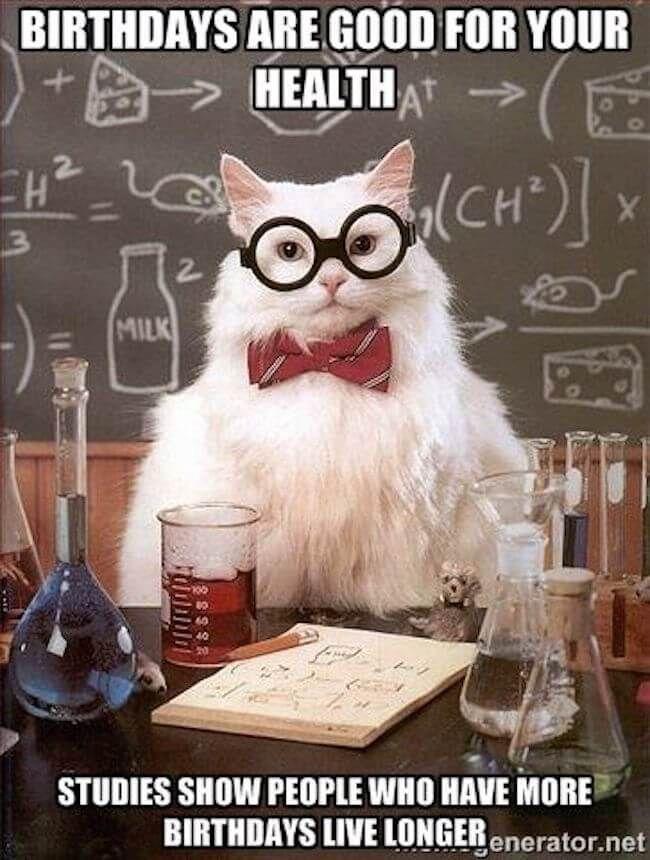 27 Happy Birthday Memes That Will Make Getting Older A Breese Chemistry Cat Chemistry Jokes Chemistry Humor