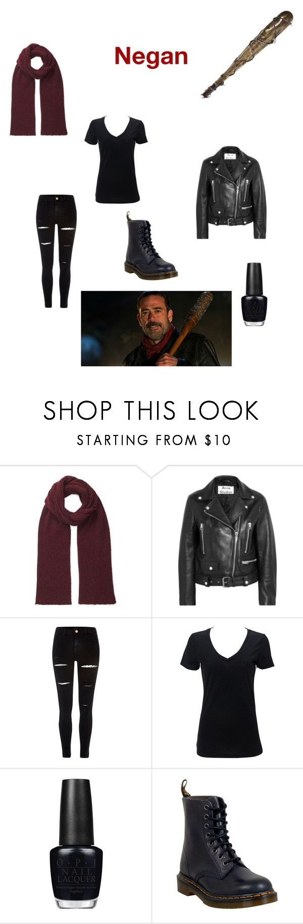 """Casual Negan Cosplay"" by chickenwraps ❤ liked on Polyvore featuring Miss Selfridge, Acne Studios, River Island, Barbed, OPI and Dr. Martens"