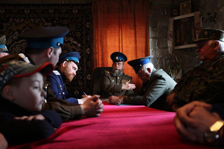 Uma reunião de cossacos em Nizhny Tagil, uma cidade nos Montes Urais.