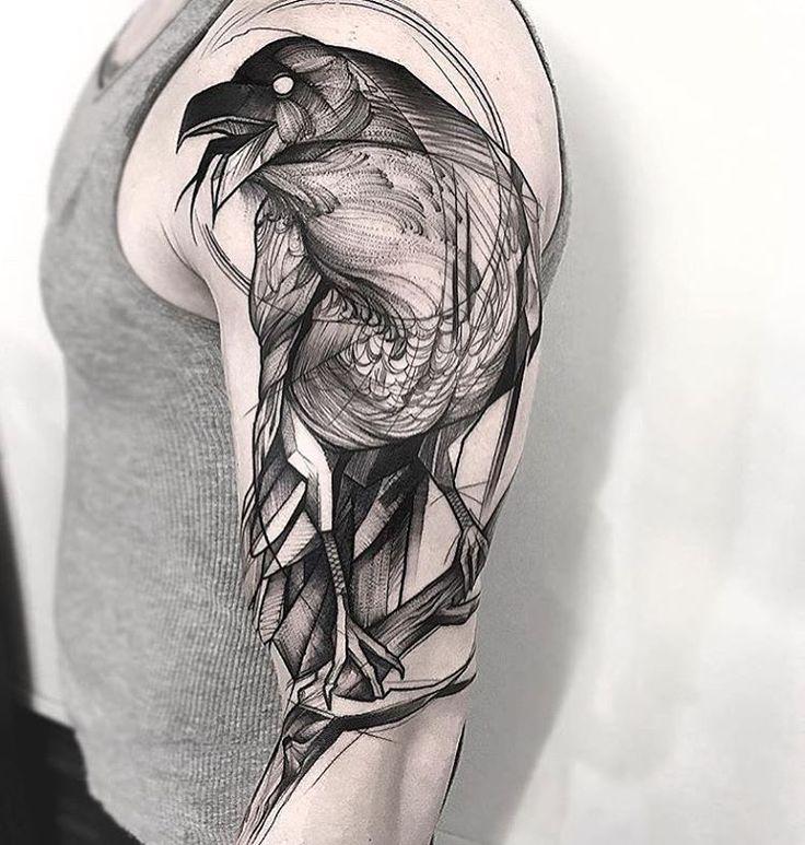 Best 25 black work tattoo ideas on pinterest black for Ravens face tattoos