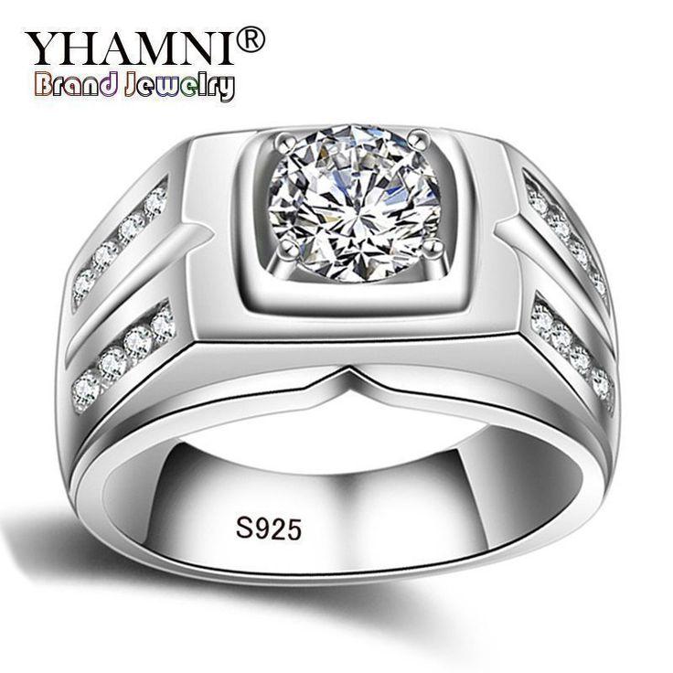 YHAMNI Original Solid 925 Silver Rings For Men Sona 1 Carat Diamant Engagement Rings Cubic Zirconia Wedding Rings Men Jewelry 04 #jewelry #weddingring Check more at http://jewelry.gooweddings.com/shop/wedding-ring/yhamni-original-solid-925-silver-rings-for-men-sona-1-carat-diamant-engagement-rings-cubic-zirconia-wedding-rings-men-jewelry-04/?utm_source=pinterest #menweddingrings #men'sjewelry