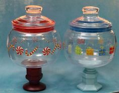 Plastic candy jars.