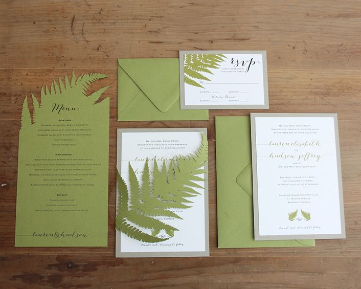 Fern Wedding Invitations from Timeless Paper