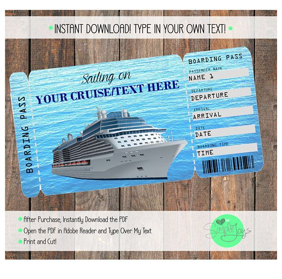 Printable Cruise Vacation Surprise Ticket Boarding Pass