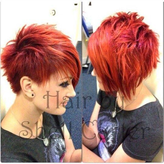 Red hair, short, punk