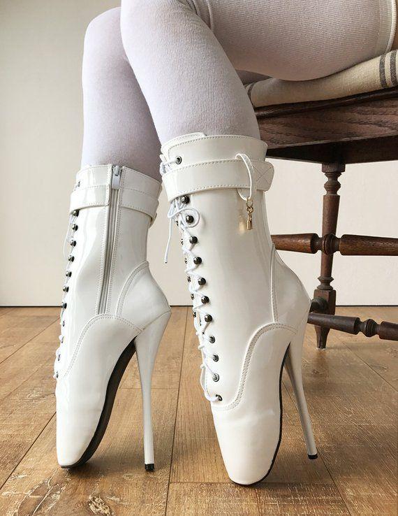 3a264d014d60 RTBU Ballet Stiletto Hi Heel Pointe Charm Burlesque White Patent in ...
