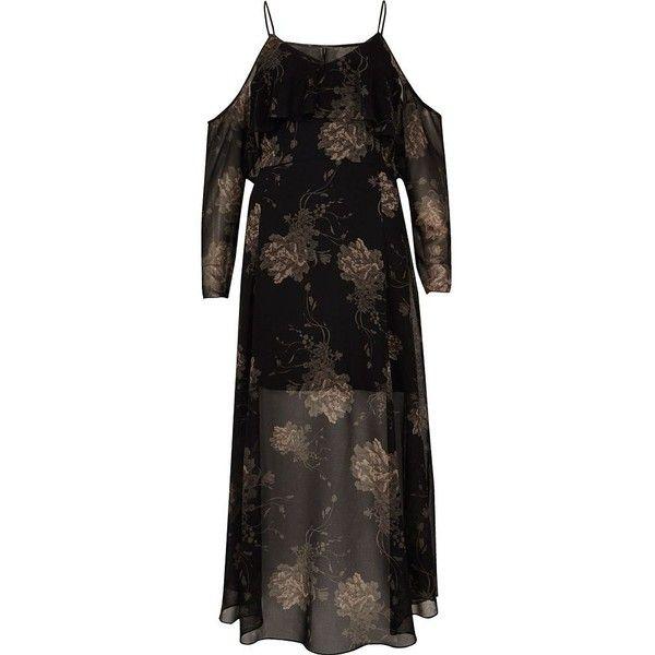 river island black floral print midi dress rub via polyvore featuring dresses