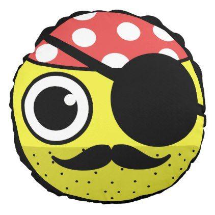 Pirate Face Round Pillow - funny comic style comics geek geeks lol fun cyo