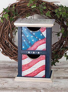 Summer Tower Box wood and mixed media organizational box. FREE Pattern Download www.artistsclub.com