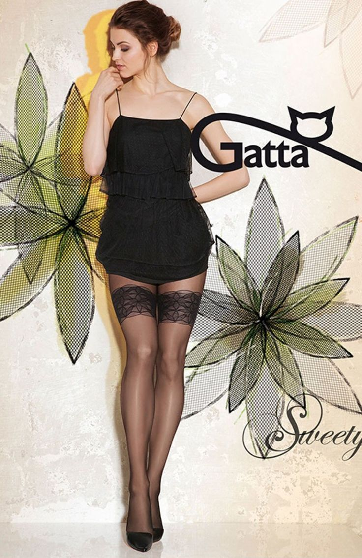 Gatta Sweety 11 rajstopy Seksowne rajstopy gładkie, seksowne zdobienie na udzie, do złudzenia przypominają kuszące pończoszki
