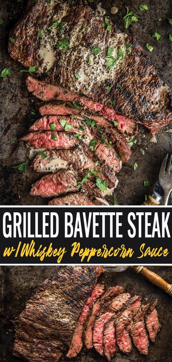 Grilled Bavette Steak With Whiskey Peppercorn Sauce