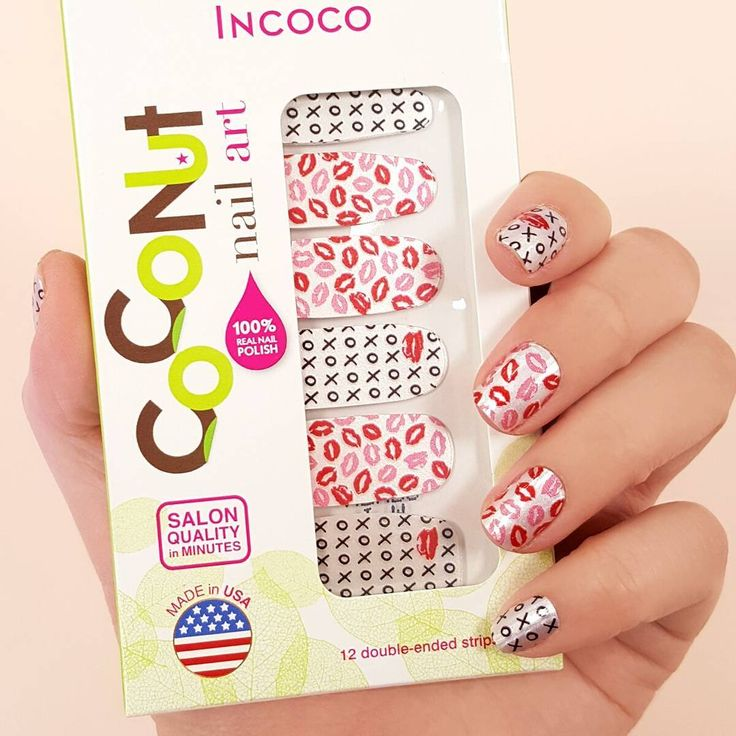 """""""I'm Yours"""" nails, perfect for celebrating a day of love ! #coconutnailart #incoco #valentinesday #xoxonails #smoochnails"""