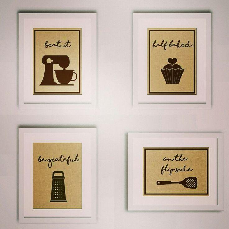 4 Print Funny Kitchen Burlap Print Set