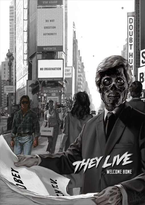 OBEY AND CONFORM (Movie: They Live) another movie by Jphn Carpenter, I love his work