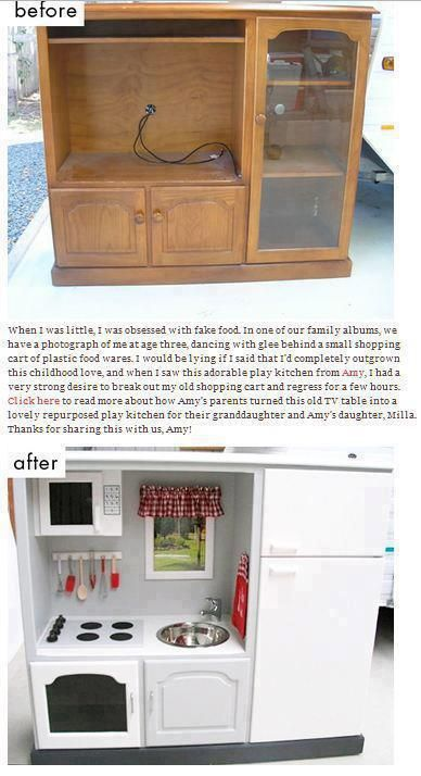 Awesome DIY kids kitchen. I have one of these and was going to sell it. Now, I think I MUST have this for the future grandbabies.