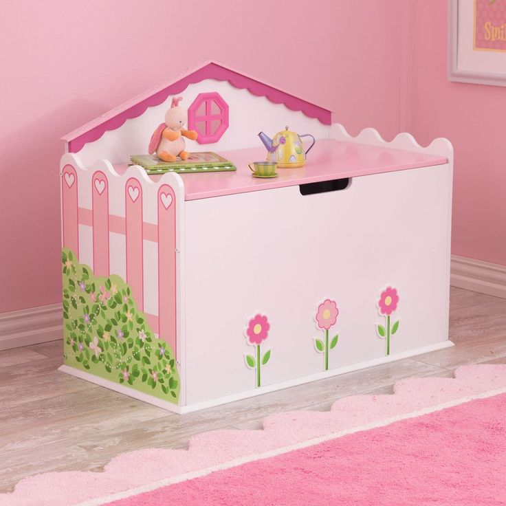 This cute furniture piece will make any girl will have fun keeping their rooms tidy and organized. The cute wooden toy box will make a great gift for any of the young princesses in your life. Dimensio