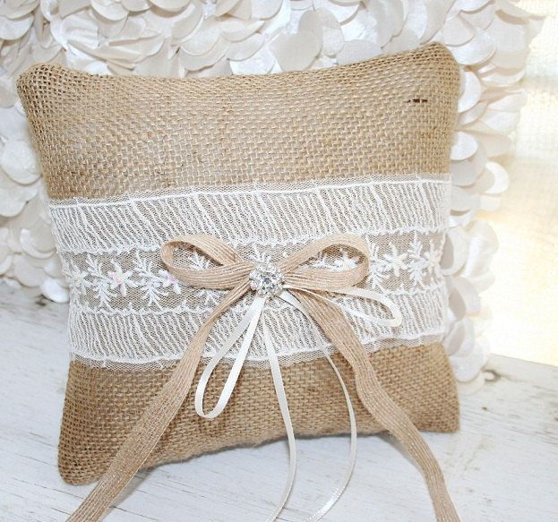 Rustic+Ring+Pillow+Burlap+Ring+Pillow+Wedding+by+LuckyYouLuckyMe,+$39.00