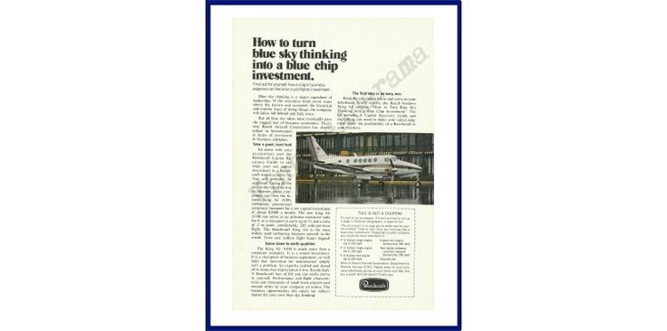 "BEECHCRAFT AIRCRAFT CORPORATION Original 1973 Vintage Color Print Ad - ""How To Turn Blue Sky Thinking Into A Blue Chip Investment."" by VintageAdOrama on Etsy"