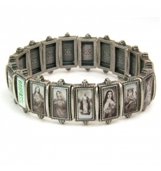 BBBrasil heren armband van metalen schakels met religieuze afbeeldingen. De armband is elastisch.