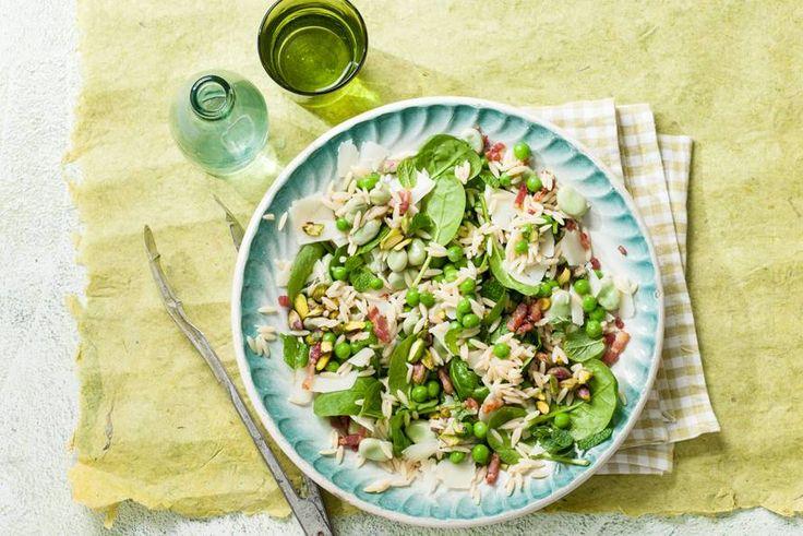 Kijk wat een lekker recept ik heb gevonden op Allerhande! Orzosalade met erwten, spinazie & spek