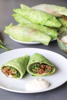 Koolburrito's met sla en pittig gehakt, Gezonde burrito's, Glutenvrije burrito's, Geblancheerde koolbladeren, Beaufood recepten, Gezonde foodblogs, Glutenvrije foodblogs