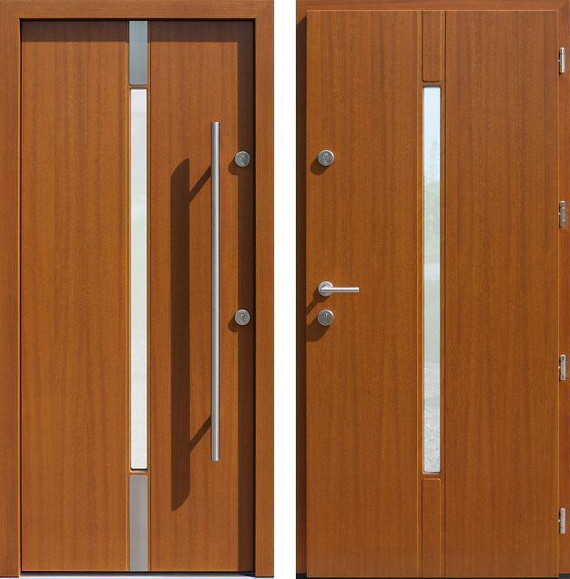 Drzwi wejściowe z aplikacjamii ze stali nierdzewnej inox wzór 464,1-464,11 złoty dąb