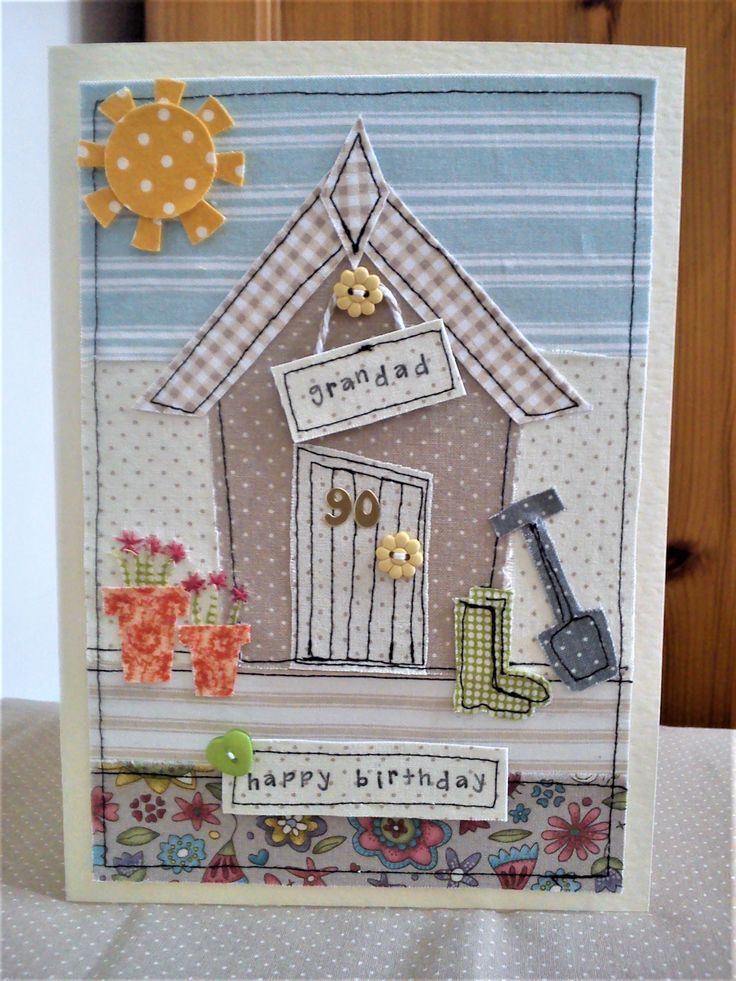 Personalised handmade machine sewn & embroidered garden shed card made with assorted fabrics & buttons