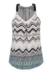 tank with ethnic patterned chiffon front in multi - maurices.com