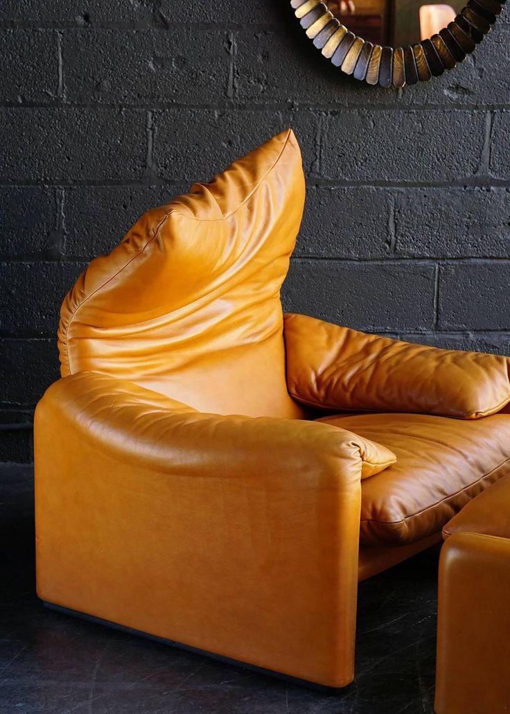 Maralunga Chair and Ottoman by Vico Magistretti 6