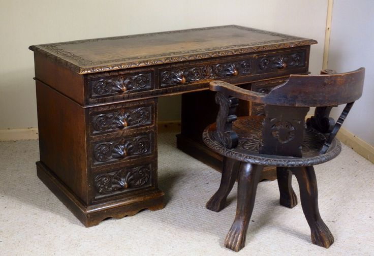 Victorian Carved Oak Writing Desk - 9 Drawers
