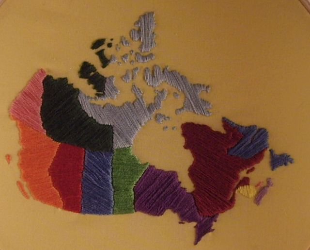 I love this awesome embroidered Canada by Michelle Jamieson