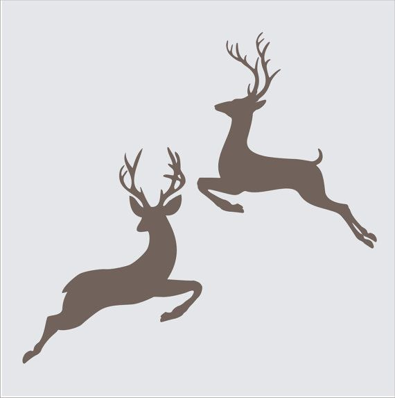 Christmas Signs Stencils- 2 Jumping BUCK Reindeer- 5 sizes Available -Create Christmas Pillows and Christmas Signs