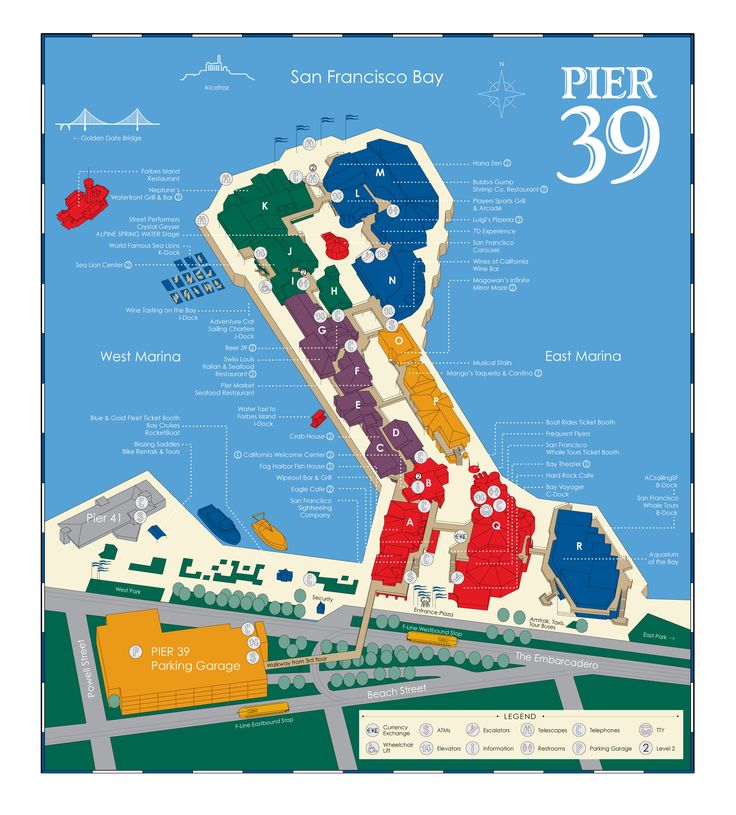 A PIER 39 Map which is downloadable and printable, showing various attractions, stores, restaurants and things to do on PIER 39, San Francisco.