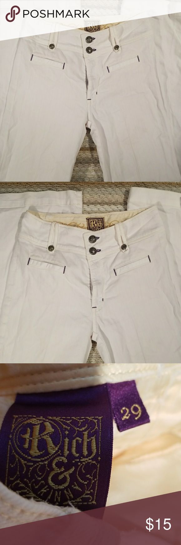 Rich & Skinny Women Sz 29 White Flare Jeans Length 43 inseam 33 Perfect condition with no stains.  Flared bottom hem. Rich & Skinny Jeans Flare & Wide Leg