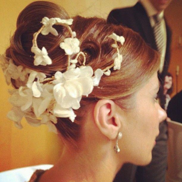 Cherubina headpiece with white velvet flowers