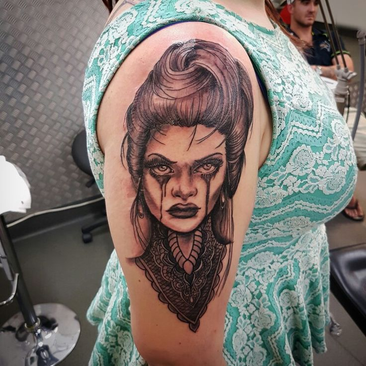 Evil Woman Tattoo. Gothic Tattoo. Victorian Era Woman