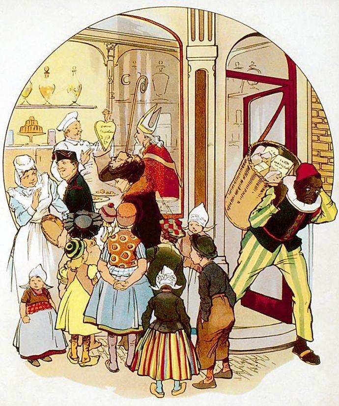 Sint Nicolaas bij de banketbakker      Wat heerlijke poppen!    Wat keurig banket    Staat hier voor de glazen,    Zo sierlijk en net!    Wie ging er naar binnen?    O, gluur door die ruit!    De bisschop koopt alles;    Zijn knecht draagt het uit.    't Zijn zakken vol lekkers,    En koeken er bij;    O, kreeg ik er ééntje    Wat was ik dan blij!