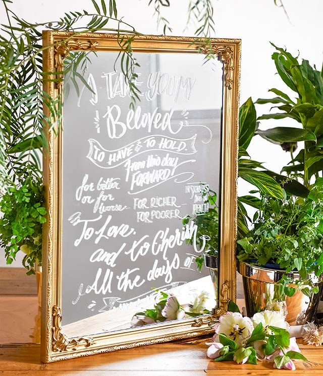 Ashdown and Bee A3 gold mirror with custom cursive lettering.