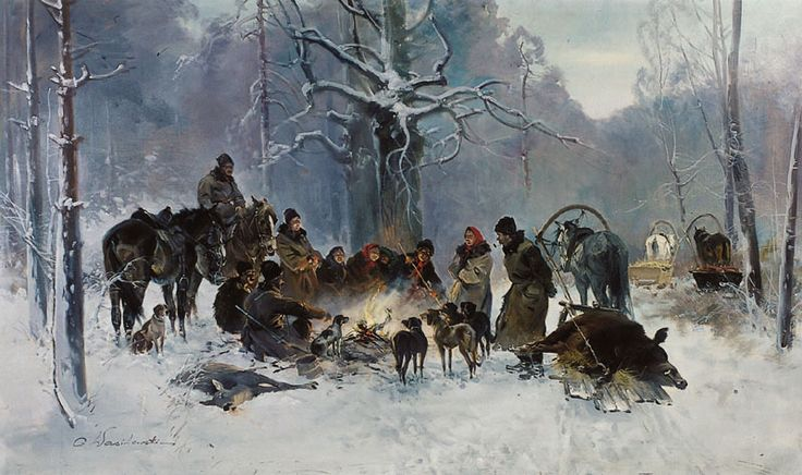 """After Hunting in Winter""  (c. 1930) by Czesław Wasilewski (Polish,1875 - 1947), oil on canvas, 119 x 200 cm, private collection."