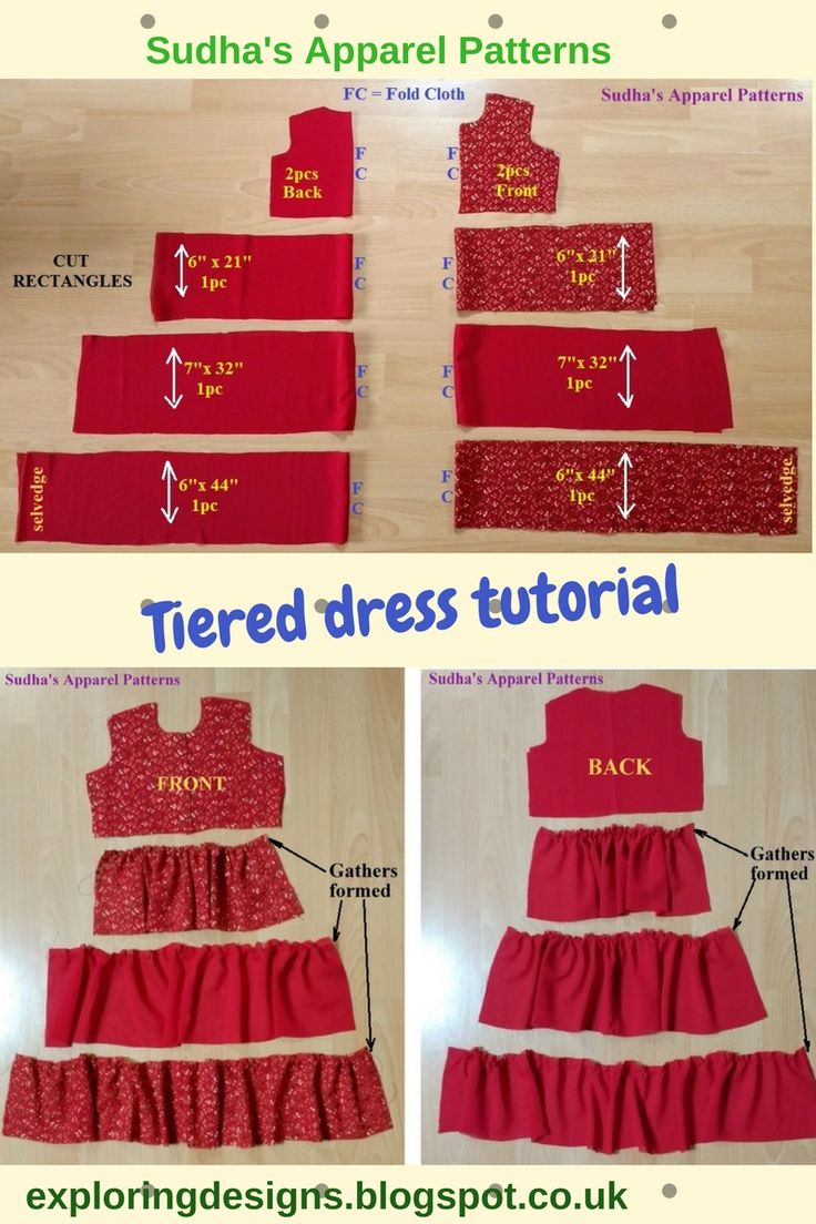 The Tiered Dress Tutorial. I have made this dress for a 3 year old. I have used a combinations of embroidered and plain Georgette fabric for making th…