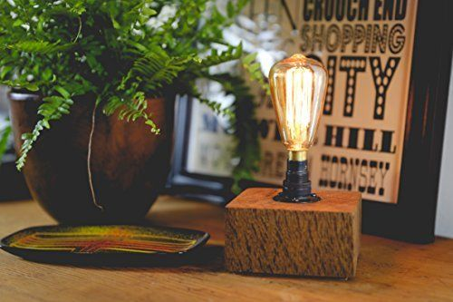 Small Dark Oak Desk Lamp Handmade from Reclaimed Wood with mini Vintage Bulb