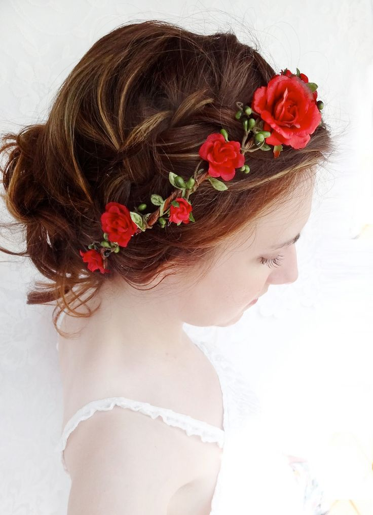 red flower hair circlet, red flower headband, bridal hair accessories, red rose - JOIELLE - flower girl head wreath. $70.00, via Etsy.
