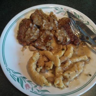 Venison schnitzel and spaetzle in jager sauce