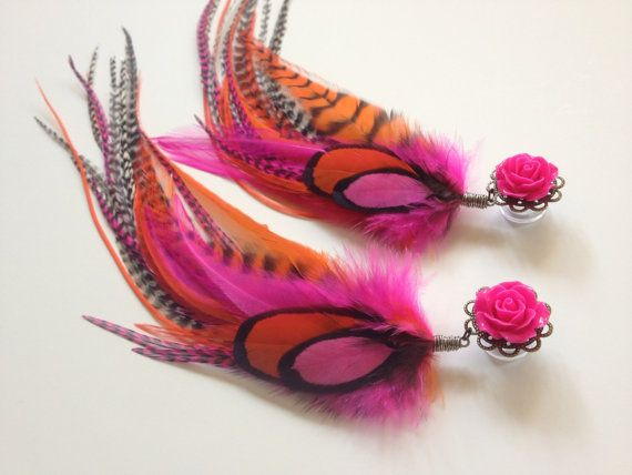 Long Dangle Feather Plugs Hot Pink Orange Grizzly 6g, 2g, 4g Ear Plugs You Pick Rose Color for Screw Back Tunnel Body Jewelry