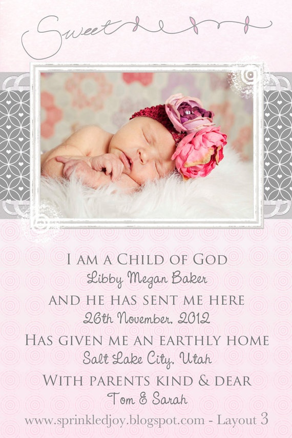I am a Child of God Baby Girl Birth Announcement or Nursery Printable, by SprinkledJoy, $6.95: Girl Birth Announcements, God Baby, Baby Announcements, Girls Births Announcements, Children, Baby Girls, Nurseries Prints, Nurseries Printable, I Am