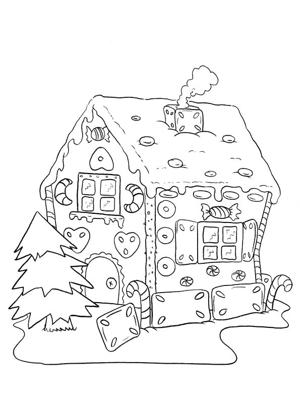 gingerbread house medium coloring pages - photo#22