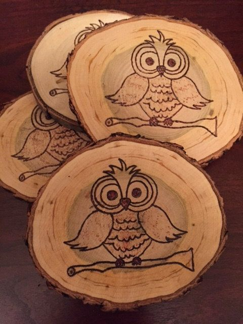 Coasters set of four owl design rustic