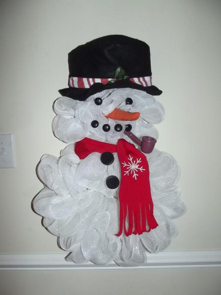 Small Snowman Mesh Wreath for Donna!