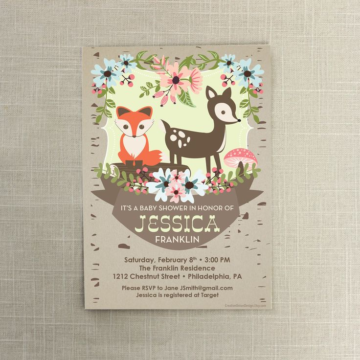 Woodland Baby Shower Invite  Baby Shower by CreativeUnionDesign, $12.00
